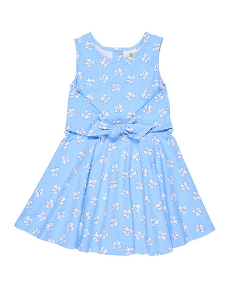 Florence Eiseman Sleeveless Bow-Print Tie-Front Dress, Size 2-6X