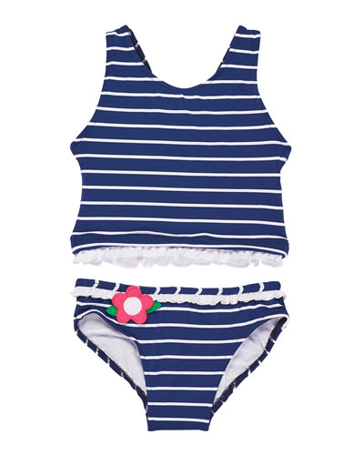 Stripe Two-Piece Swimsuit w/ Flowers & Ruffles, Size 7-10