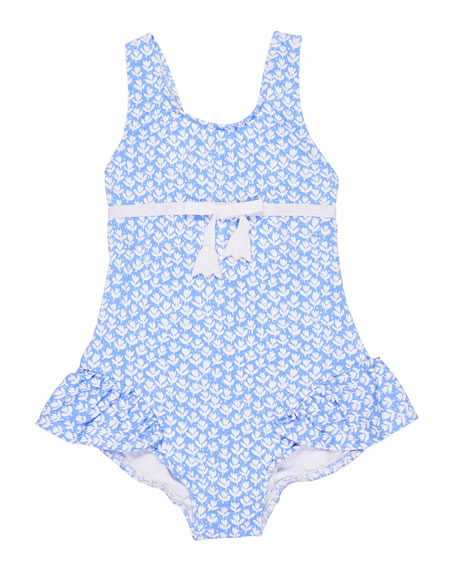 Florence Eiseman Tulip-Print Ruffle One-Piece Swimsuit, Size 6-24