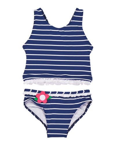 Stripe Two-Piece Swimsuit w/ Flowers & Ruffles, Size 4-6X