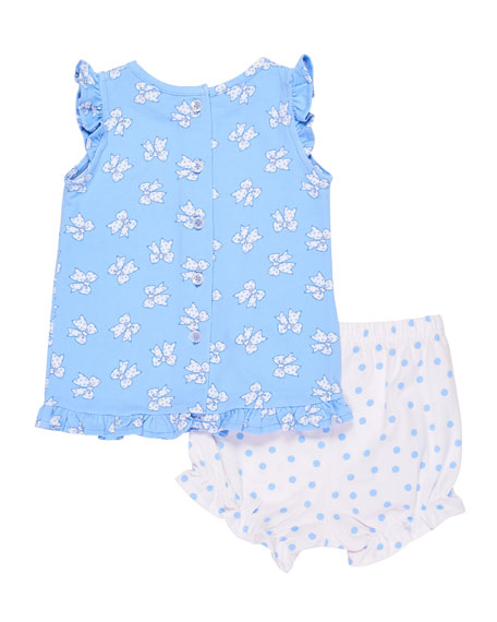 Bow-Print Ruffle-Sleeve Top w/ Polka-Dot Bloomers, Size 3-24 Months