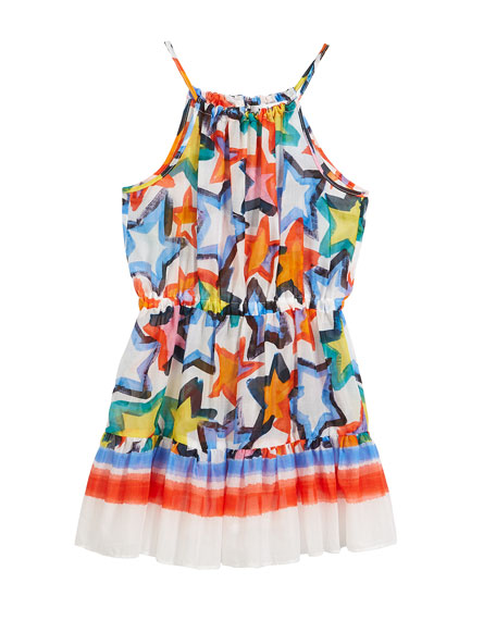 Stars-Print Tiered Halter Dress, Size 4-7