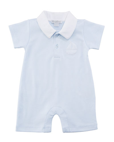 Sunday Outing Collared Pima Shortall, Size 3-18 Months