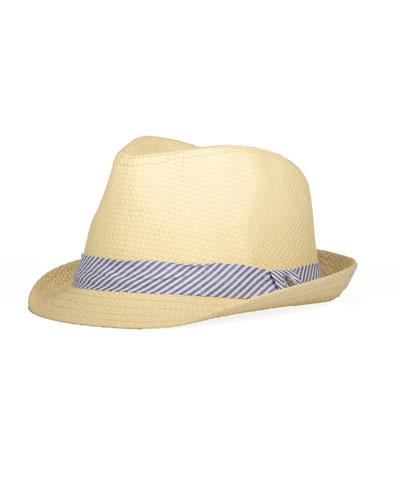 Boys' Straw Fedora w/ Seersucker Hat Band
