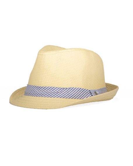 Boys' Straw Fedora w/ Seersucker Hat Band