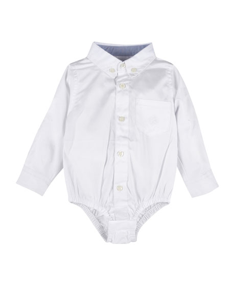 Long-Sleeve Collared Oxford Bodysuit, Size 3-24 Months