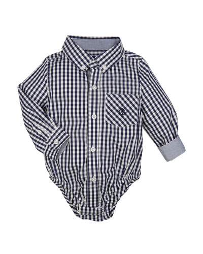 Collared Long-Sleeve Gingham Bodysuit, Size 3-24 Months