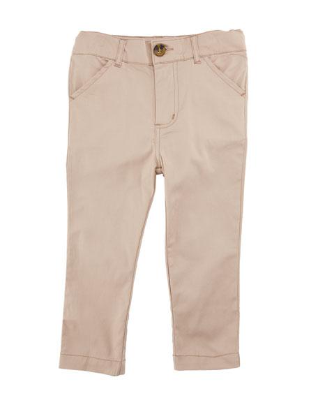 Twill Straight-Leg Pants, Size 2-7