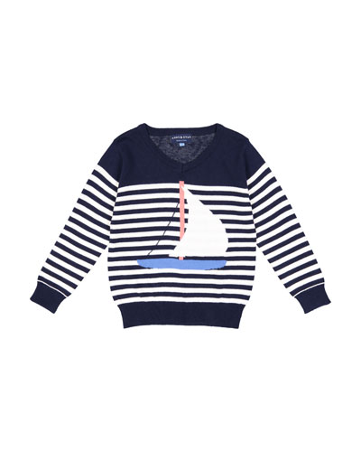 Stripe Sailboat Knit Sweater, Size 2-7