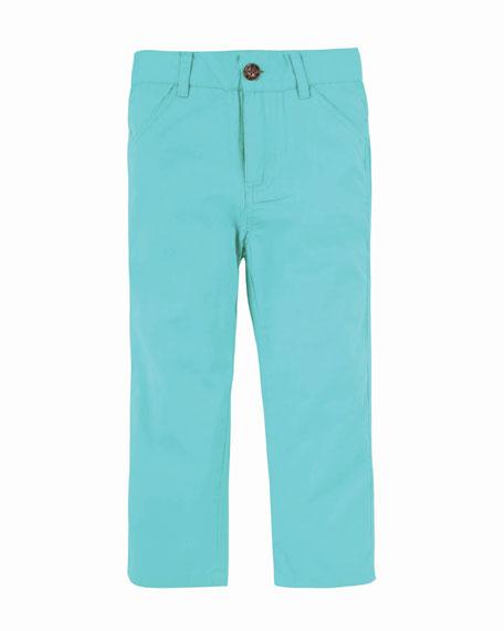 Straight-Leg Twill Pants, Size 2-7