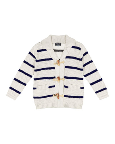 Toggle-Front Stripe Knit Cardigan, Size 2-7
