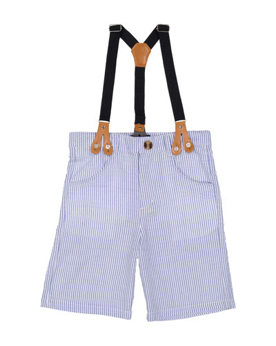 Seersucker Suit Shorts w/ Suspenders, Size 3-24 Months