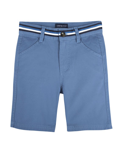 Cotton-Stretch Mock Belt Shorts, Size 3-24 Months
