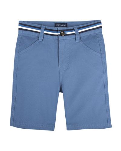 Cotton-Stretch Mock Belt Shorts, Size 2-7