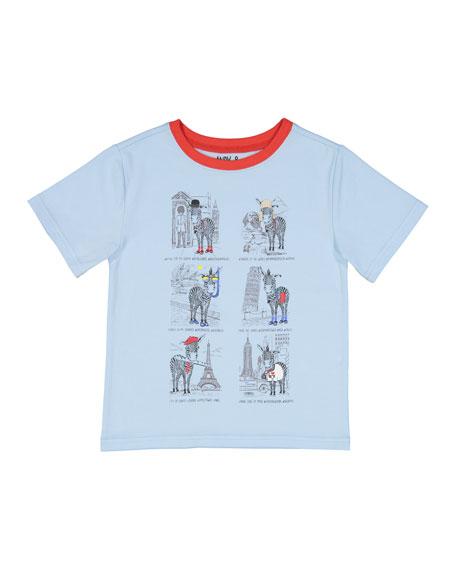 Short-Sleeve Zebra Tourist T-Shirt, Size 2-4T