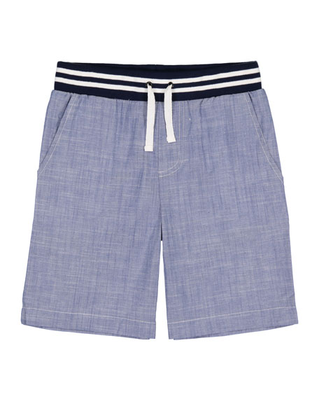 Andy & Evan Chambray Drawstring Jogger Shorts, Size