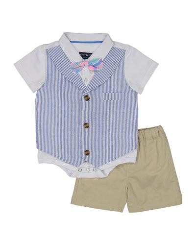Seersucker Mock Vest Bodysuit w/ Shorts, Size 3-24 Months