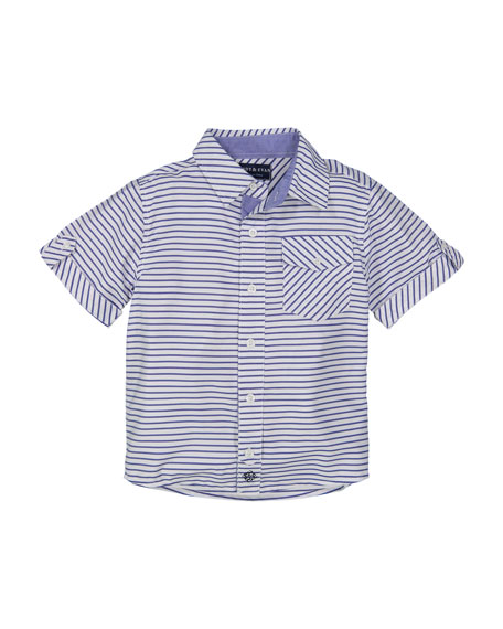 Andy & Evan Short-Sleeve Striped Collared Shirt, Size