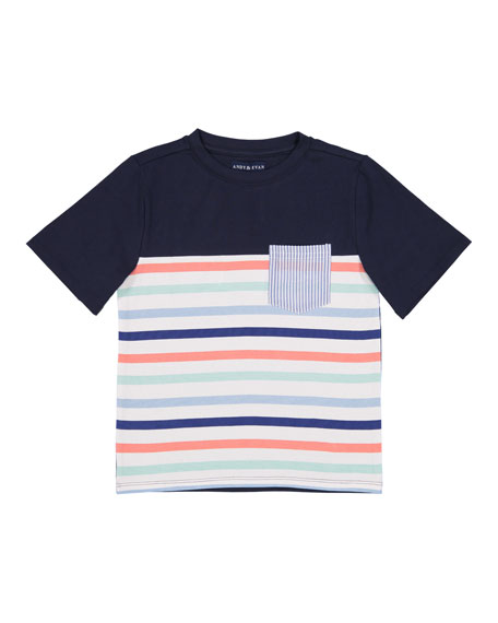 Andy & Evan Short-Sleeve Stripe Pocket Tee, Size