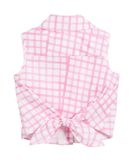 Tie-Back Sleeveless Check Blouse, Size 8-14