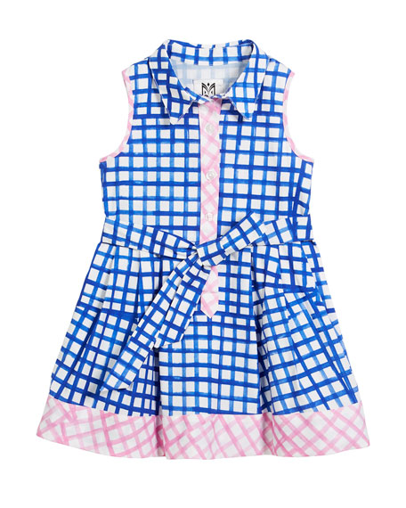 Sleeveless Check Shirt Dress, Size 8-14