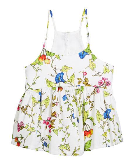Milly Minis Floral-Print Spaghetti Strap Tank, Size 8-14