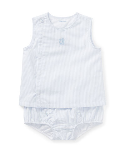 Pinstripe Poplin Sleeveless Top w/ Matching Bloomers, Size 9-24 Months