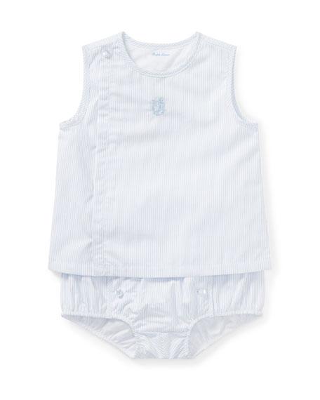 Ralph Lauren Childrenswear Pinstripe Poplin Sleeveless Top w/