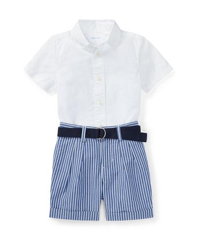 Poplin Cotton Outfit Set, Size 9-24 Months
