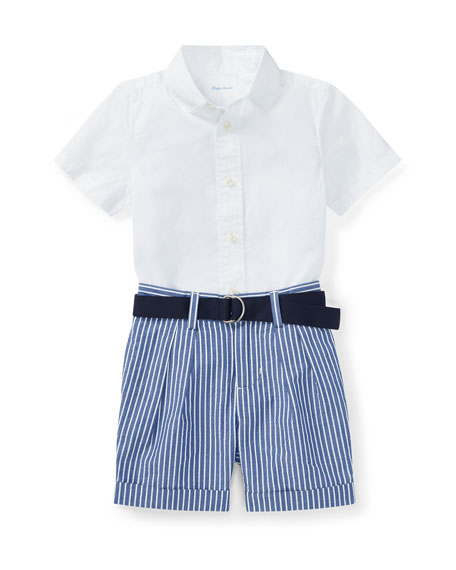 Ralph Lauren Childrenswear Poplin Cotton Outfit Set, Size