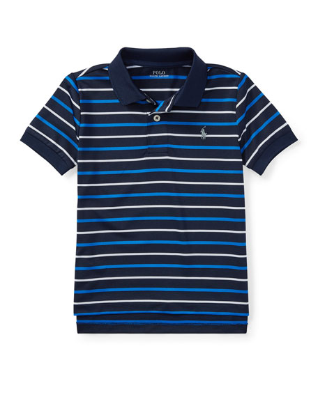 Ralph Lauren Childrenswear Lisle Striped Short-Sleeve Polo, Size