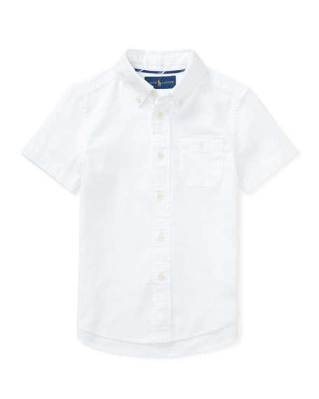 Ralph Lauren Childrenswear Short-Sleeve Performance Oxford Shirt,