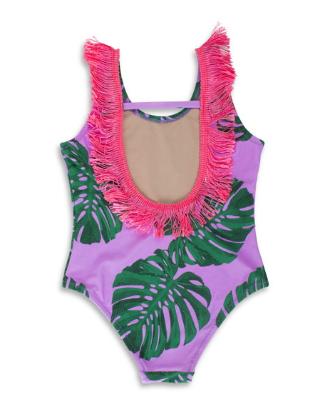 Botanical One-Piece Swimsuit w/ Brush Fringe Trim, Size 2-5
