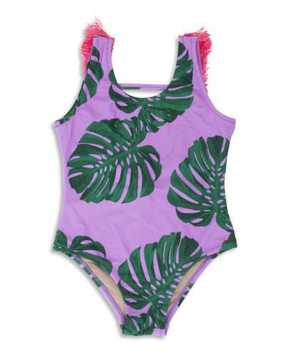 Botanical One-Piece Swimsuit w/ Brush Fringe Trim, Size 2-5