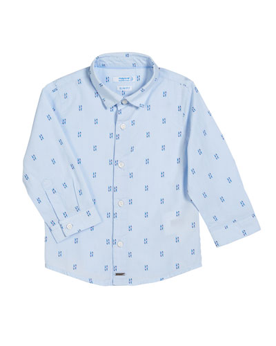 Long-Sleeve Scattered Fish-Print Shirt, Size 12-36 Months