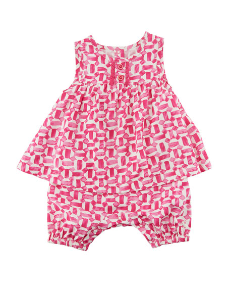 Joules Uma Patterned Sleeveless Romper, Size 0-24 Months