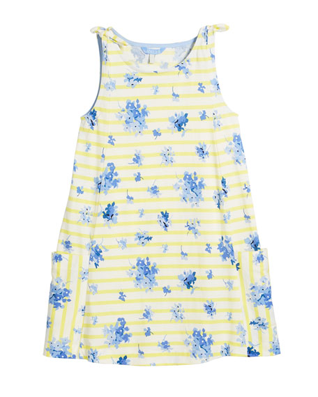 Madeline Stripe & Floral Tie Sleeveless Dress, Size 3-10
