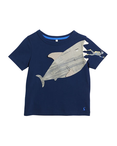 Archie Short-Sleeve Shark & Diver T-Shirt, Size 3-6