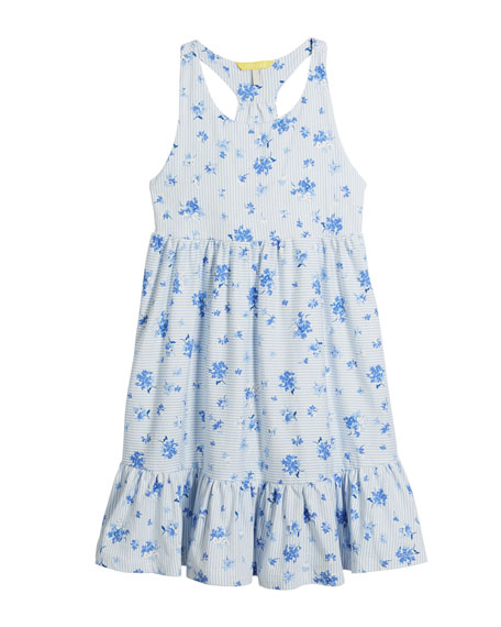 Juno Stripe & Floral Sleeveless Dress, Size 3-10