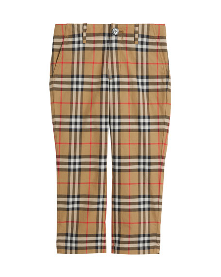 Teo Straight-Leg Check Twill Pants, Size 4-14