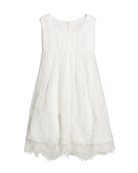 Helena Lace Empire-Waist Sleeveless Dress, Size 7-14