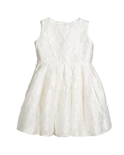 Rose Jacquard Organza Dress, Size 2-6