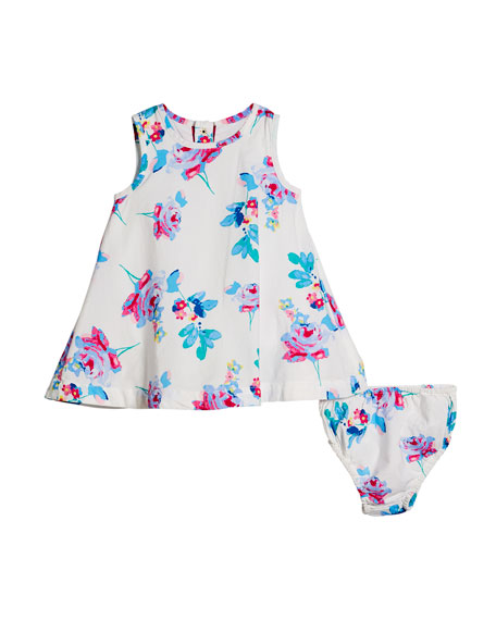 Floral A-Line Dress w/ Matching Bloomers, Size 6-24 Months