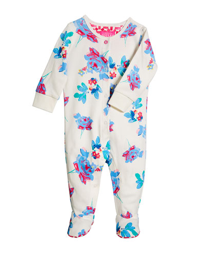 Floral Cotton Footie Pajamas, Size 0-12 Months