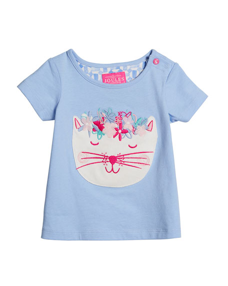 Winn Embroidered Cat T-Shirt w/ Floral Leggings, Size 3-24 Months