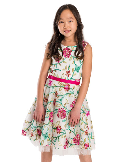 Crewel Floral Embroidered Mesh Party Dress, Size 7-16