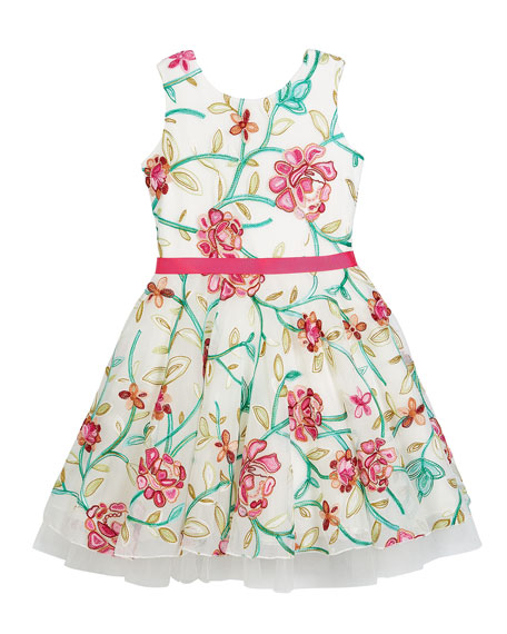 Zoe Crewel Floral Embroidered Mesh Party Dress, Size