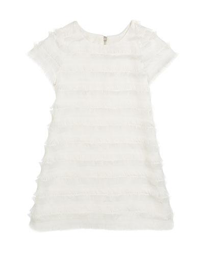 Fringe Short-Sleeve Sheath Dress, Size 7-16