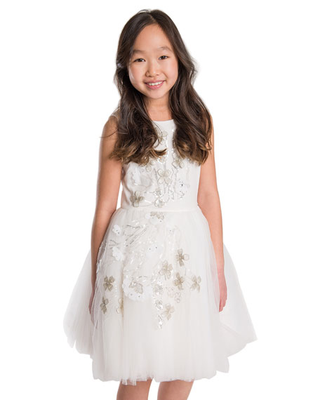 3D Sequin Embellished Tulle Party Dress, Size 7-16