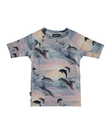 Molo Neptune Dolphins Sunset Rash Guard, Size 2T-12